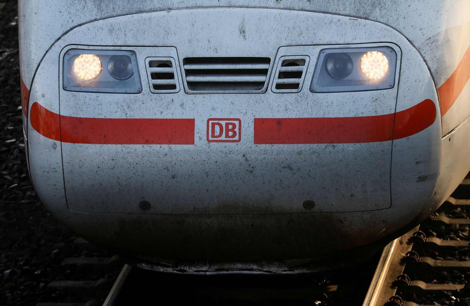 FILE PHOTO: The front of a German railway Deutsche Bahn AG ICE high speed train is seen at the train station in Hanau