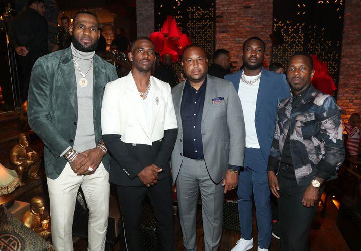 LeBron James, Chris Paul, Randy Mims, Meek Mill, Rich Paul in Los Angeles 2019