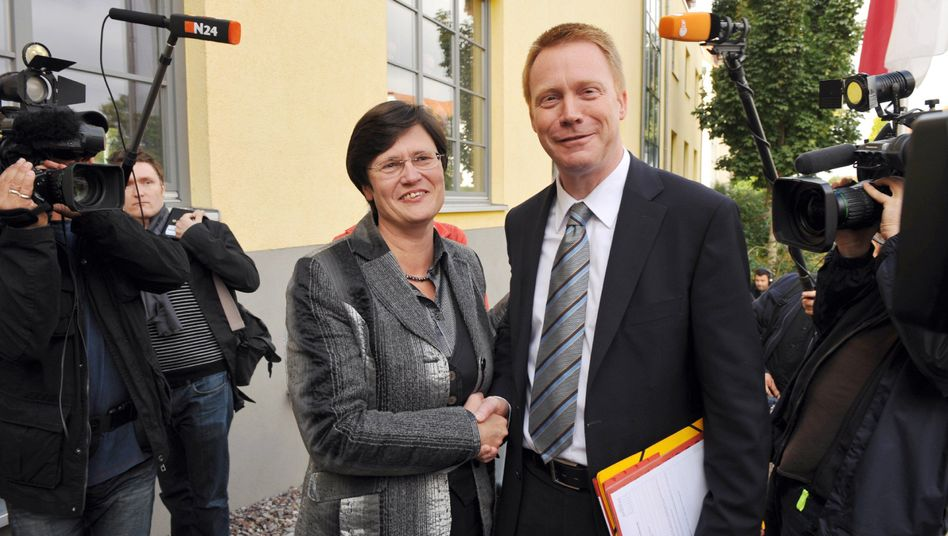 Künftige Koalitionspartner Lieberknecht, Matschie: Die Chemie stimmt