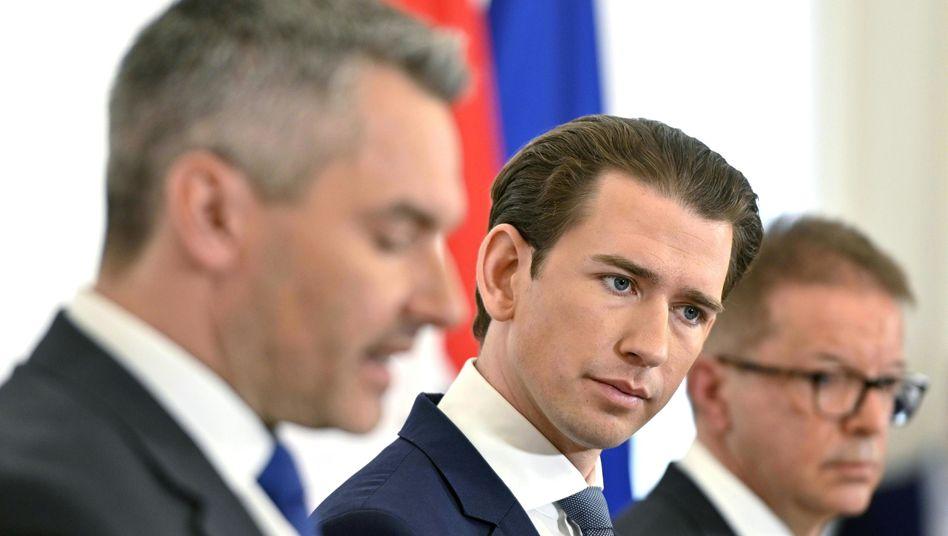 Minister Nehammer, Kanzler Kurz, Minister Anschober: Überbringer schlechter Nachrichten
