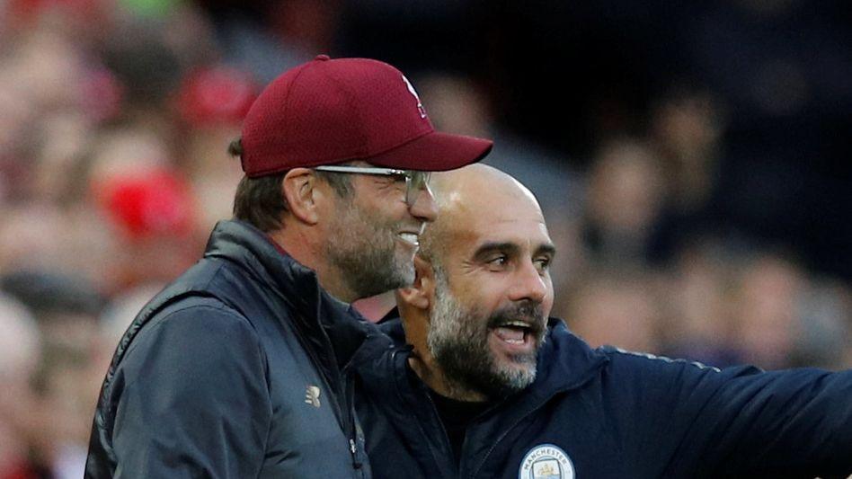 Guck, was ich für euch organisiert habe: Pep Guardiola (r.) plant eine Ehrengarde für Jürgen Klopp und den FC Liverpool