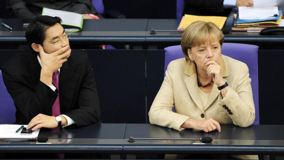 Vizekanzler Rösler, Kanzlerin Merkel: Im Schatten der Schuldenkrise stocken die Projekte