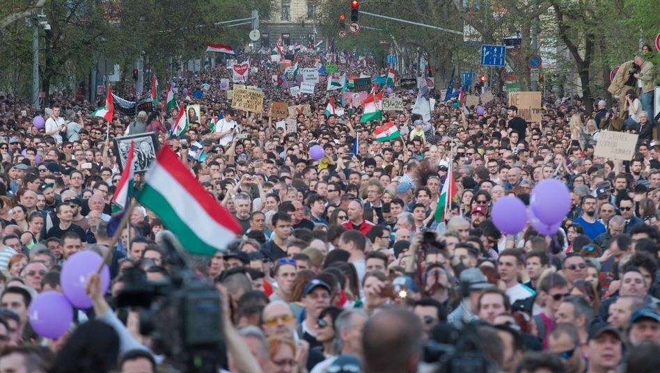 Demonstration für Pressefreiheit in Ungarn