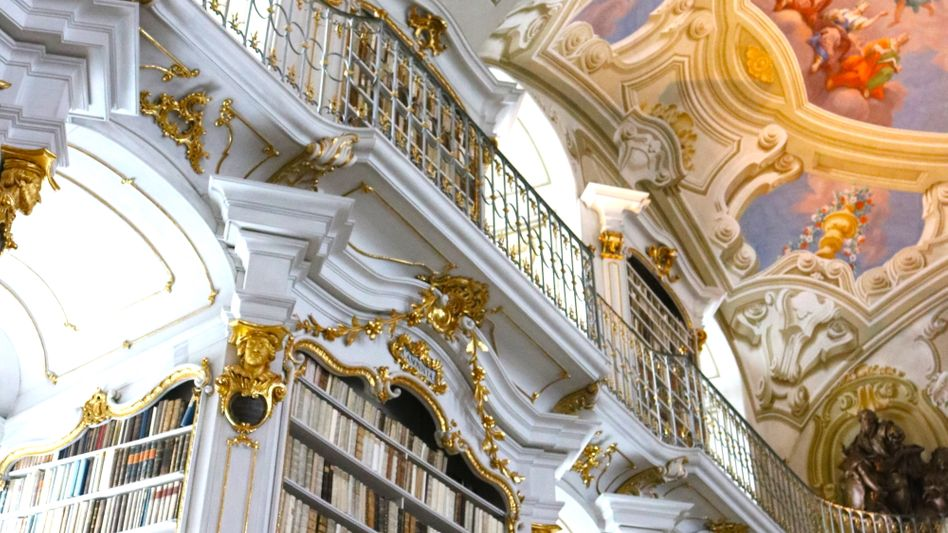 Experte Haltrich in der Admonter Stiftsbibliothek