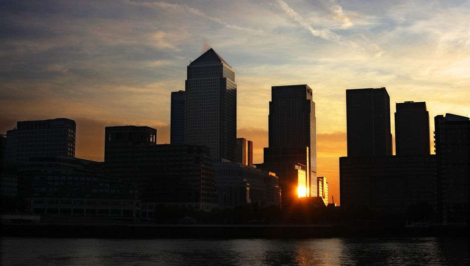 The Canary Wharf financial district in London.