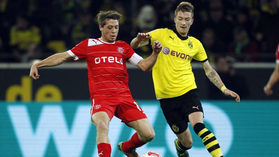 Düsseldorfs Lambertz (l.): Interview-Verbot nach dem Spiel in Dortmund