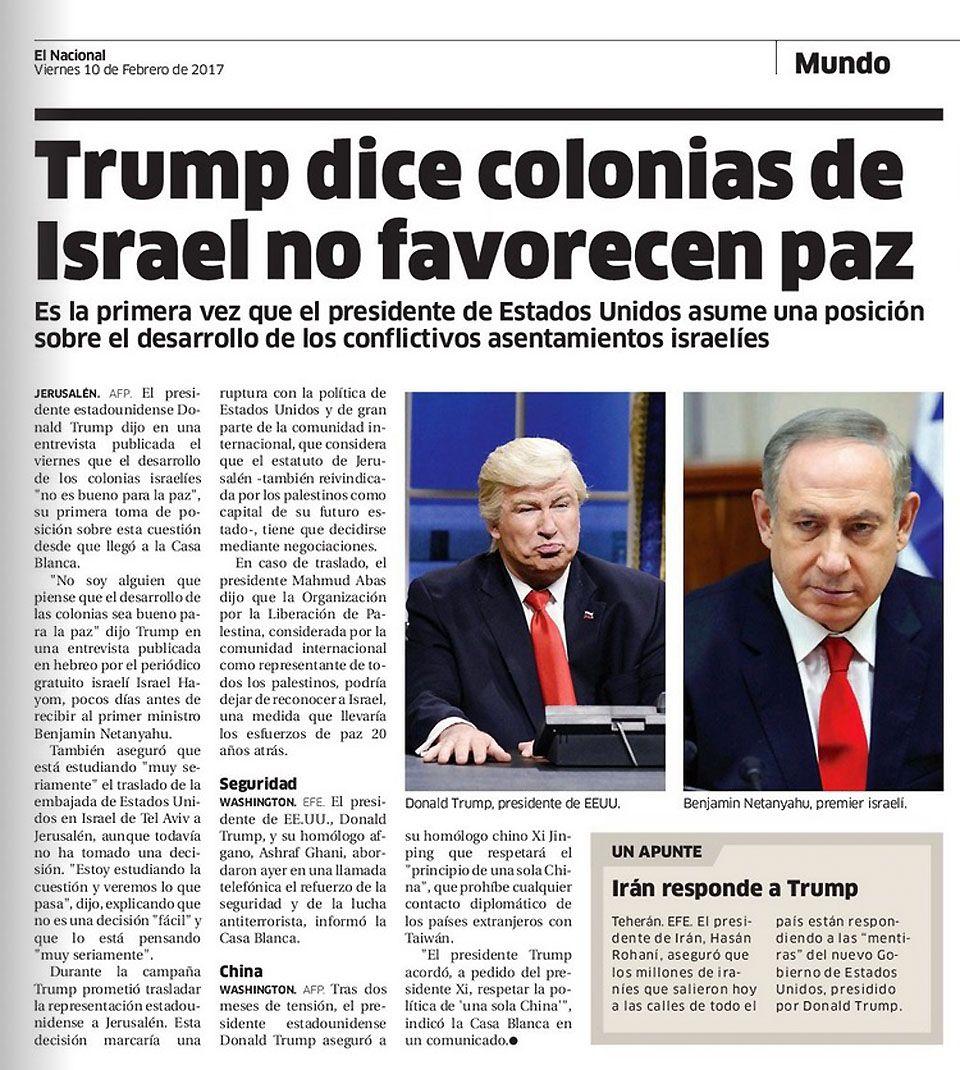 EINMALIGE VERWENDUNG El Nacional/ Trump/ Baldwin