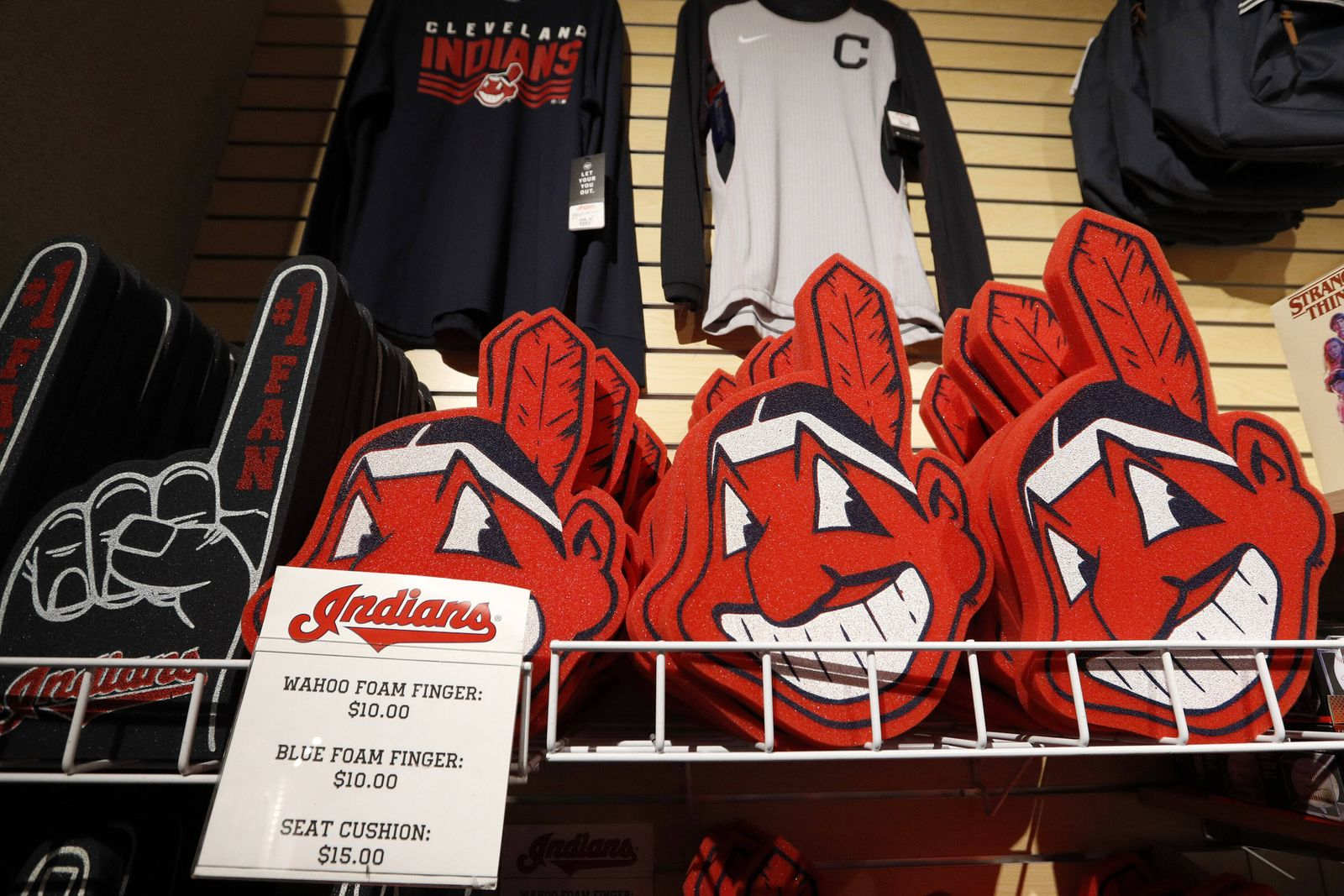 A Cleveland Indians Chief Wahoo foam finger sit for sale at the team shop inside Progressive Field in Cleveland, Ohio o