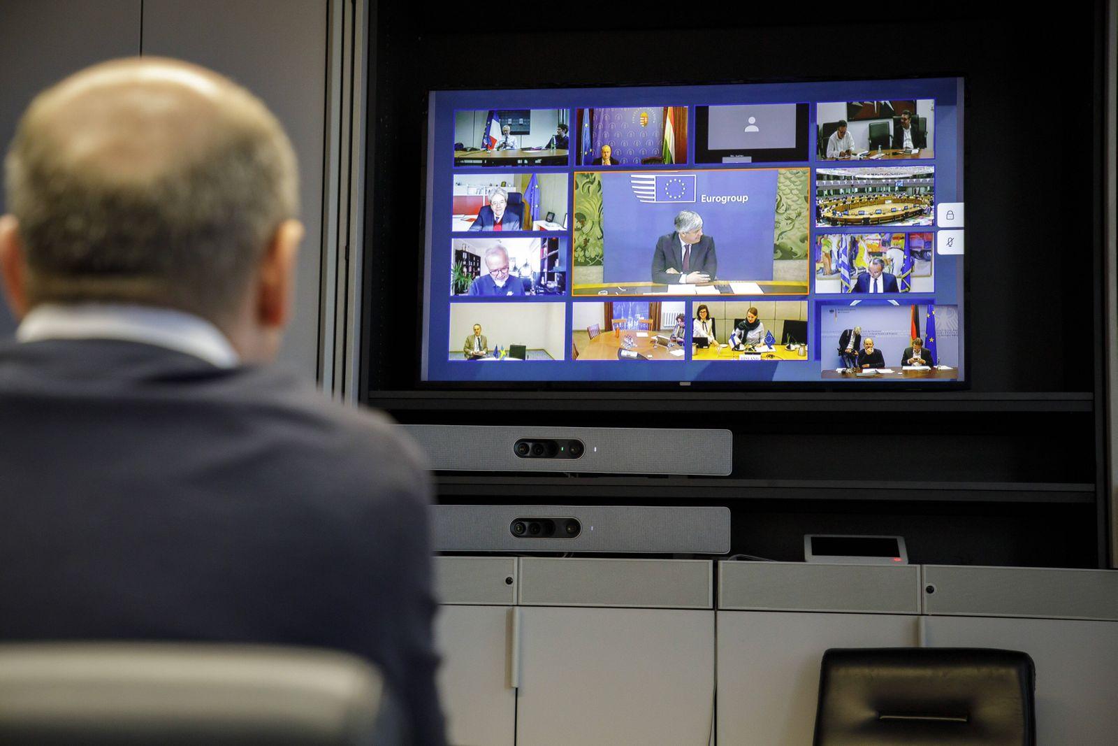 Bundesfinanzminister Olaf Scholz, SPD, nimmt an einer Videokonferenz der Euro-Gruppe teil. Berlin, 07.04.2020 Berlin De