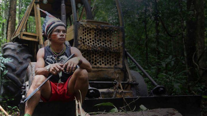 Ein junger Mann aus dem Tembé-Stamm hat einen Bagger besetzt
