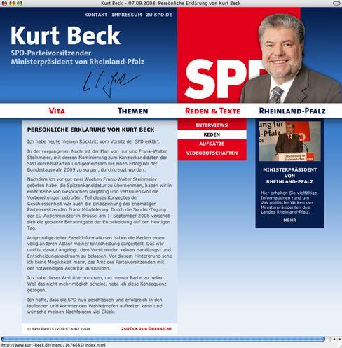 Kurt Becks Web-Seite: Heftige SPD-interne Debatten im Netz