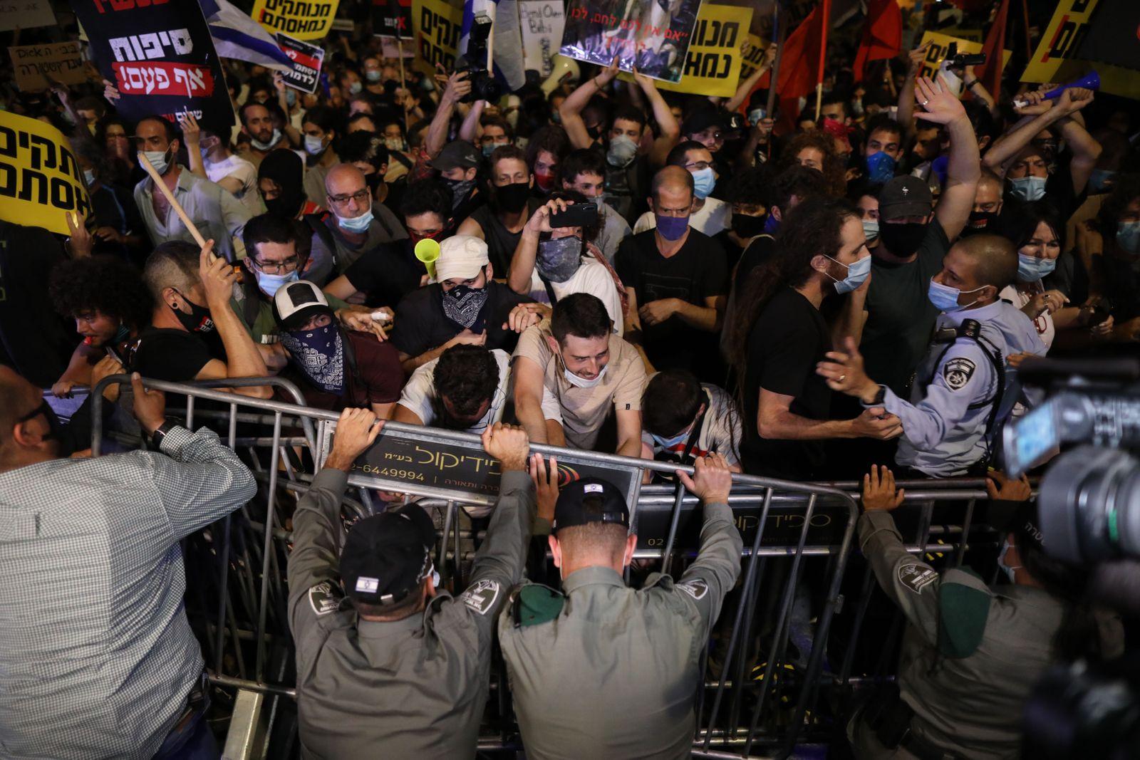 Anti-Netanyahu protest in Jerusalem, Israel - 14 Jul 2020