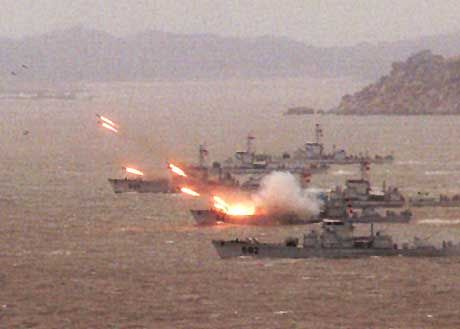 Chinese ships during a military exercise.