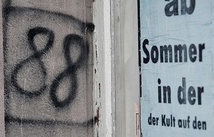 """Neo-Nazi graffiti in Mügeln. The numbers 88 stand for HH, which in turn represent """"Heil Hitler."""""""