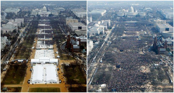 Trumps Vereidigung 2017 (links) im Vergleich zu Obamas Vereidigung 2009