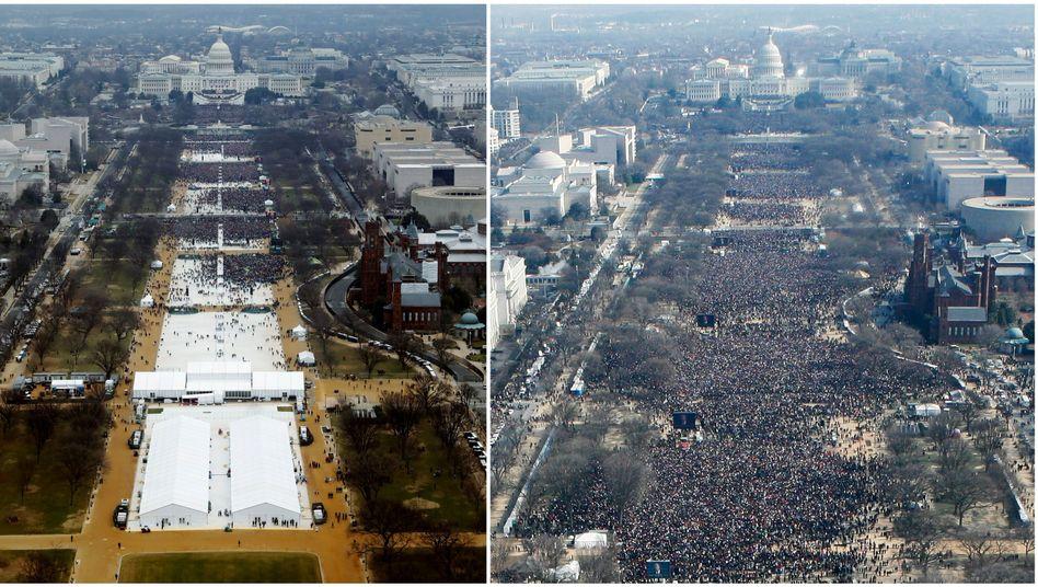 Amtseinführungen auf der National Mall in Washington: Donald Trump am 20. Januar 2017 (l.) und Barack Obama am 20. Januar 2009