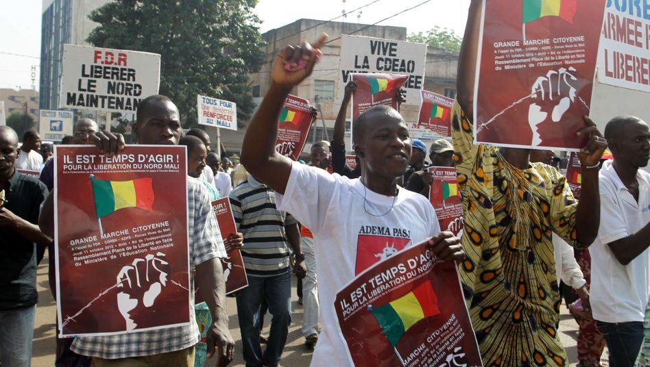 Demonstranten fordern in Mali einen Militäreinsatz im Norden gegen Islamisten