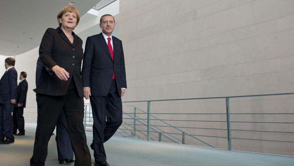 """Kanzlerin Merkel, türkischer Premier Erdogan in Berlin: """"Die EU ist ein ehrlicher Partner"""""""