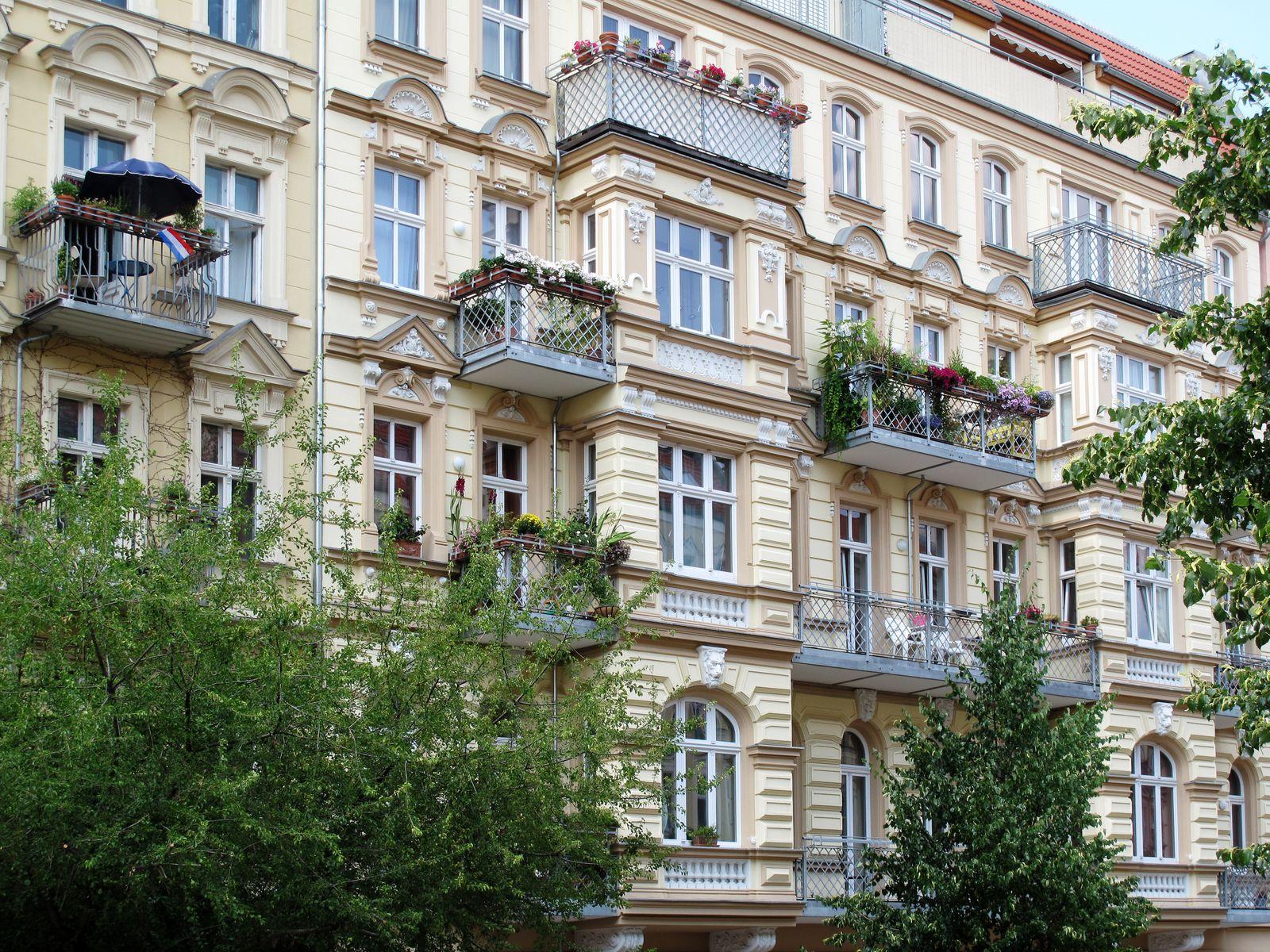 Facades of pre-war residential buildings in the district of Prenzlauer Berg, Berlin, Germany