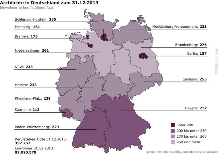 Ärztedichte in Deutschland: Zur Großansicht bitte klicken
