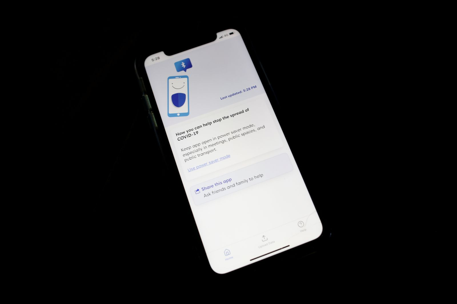 Contact tracing app TraceTogether, released by the Singapore government to curb the spread of the coronavirus disease (COVID-19) is seen on a mobile phone, in Singapore