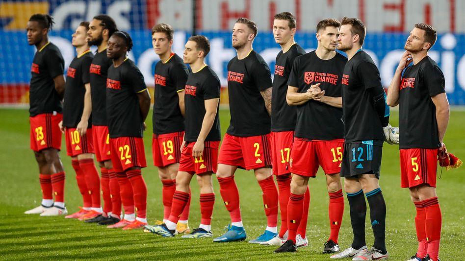Die belgische Nationalmannschaft vor dem Spiel gegen Belarus