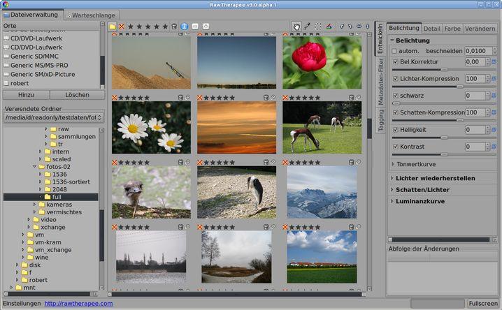 RawTherapee ermöglicht Bildkorrekturen bereits beim Sichten.