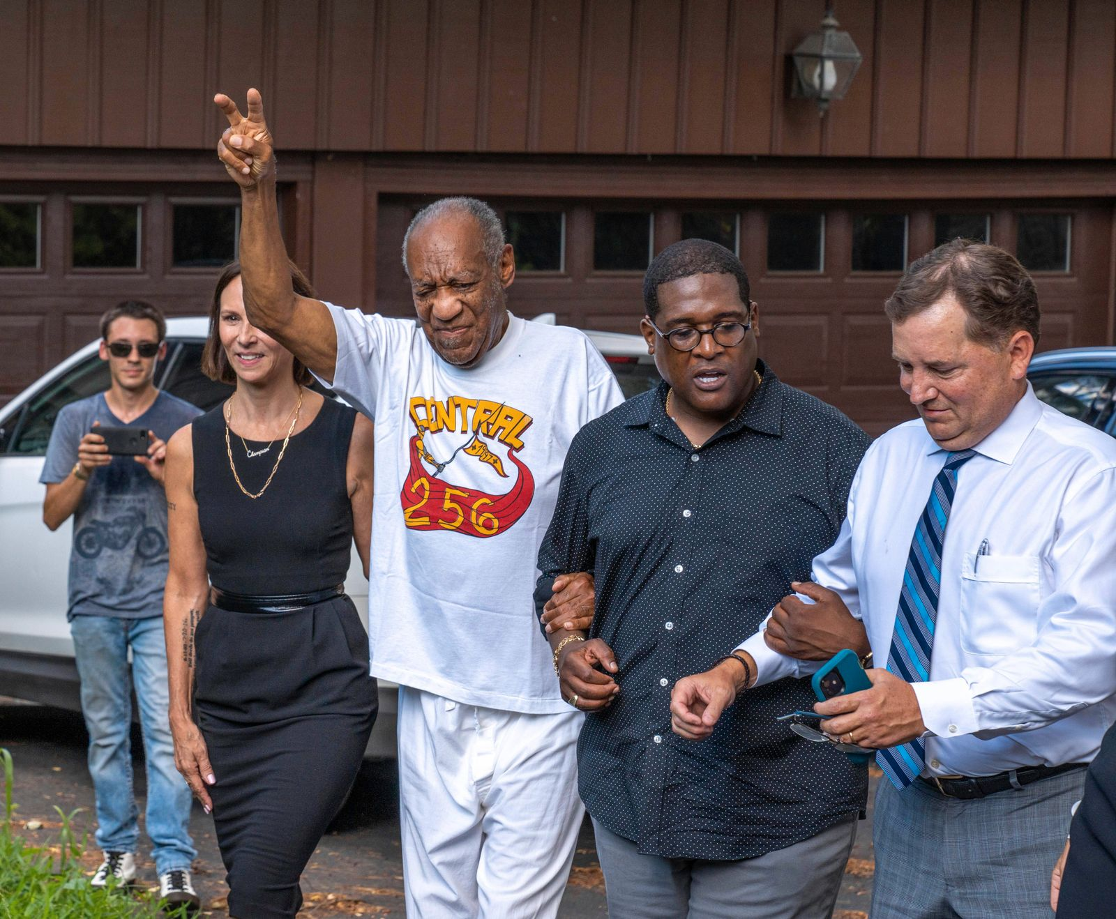 June 30, 2021, Elkins Park, Pennsylvania, USA: Comedian BILL COSBY, 83, hand raised with V for Victory, and spokesperson