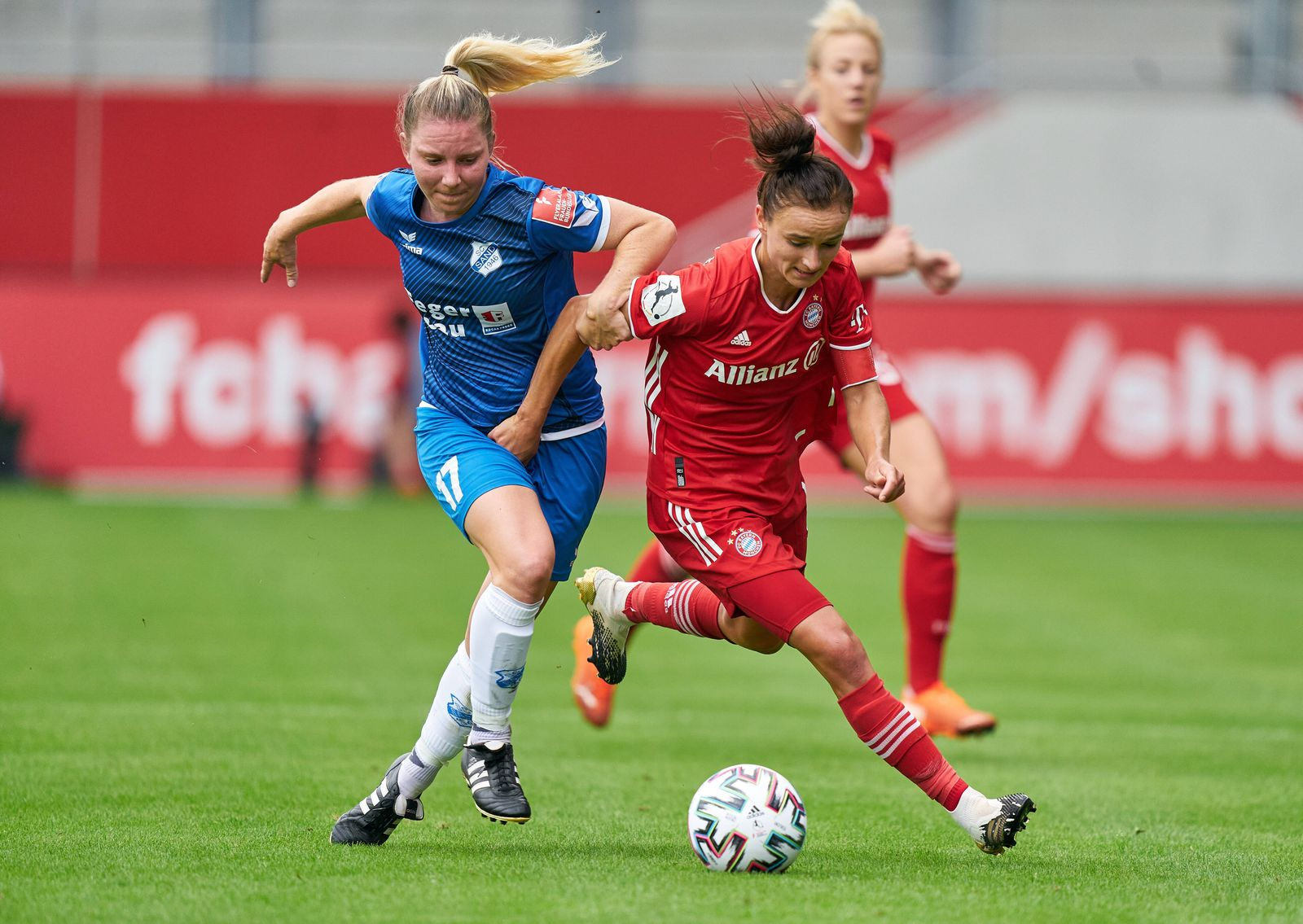 Football Munich - Sand, Munich 6th Sept, 2020. Lina MAGULL, FCB Women 16 compete for the ball, tackling, duel, header, z