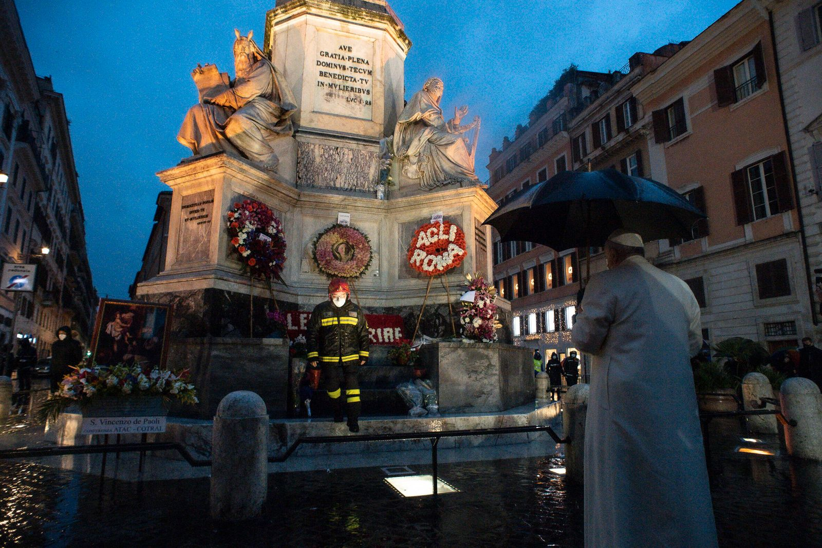 December 8, 2020: Pope Francis leads the Immaculate Conception celebration prayer in Piazza di Spagna (Spain s Square)