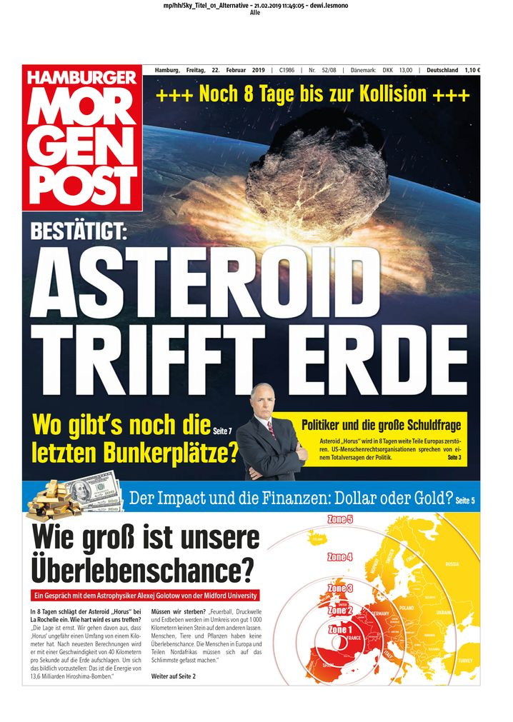 """""""Acht Tage""""-Anzeige in der """"Hamburger Morgenpost"""""""