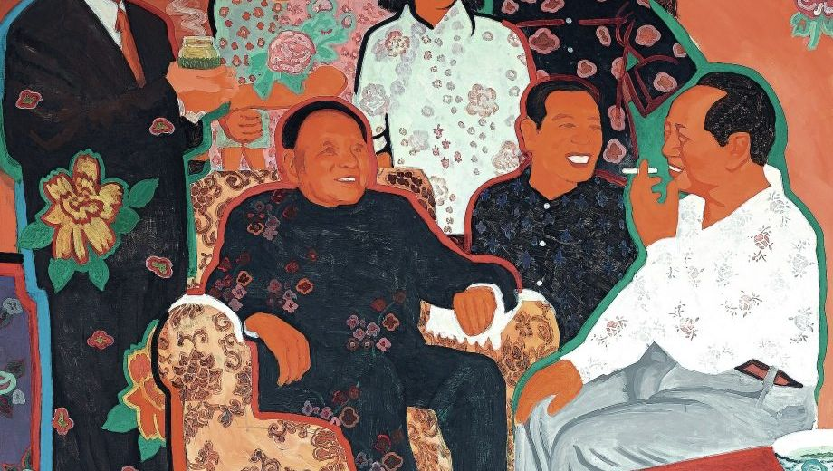 Gemälde »Chairman Mao in Discussion with the Peasants of Shaoshan«, 1999, von Yu Houhan