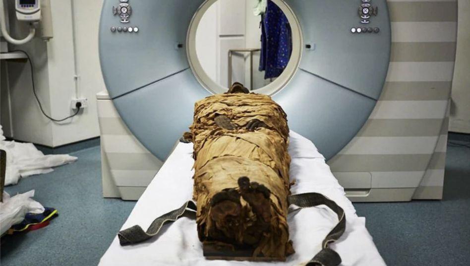 Mumie des ägyptischen Priesters Nesyamun: Forscher untersuchten seine Rachenstruktur im Computertomografen