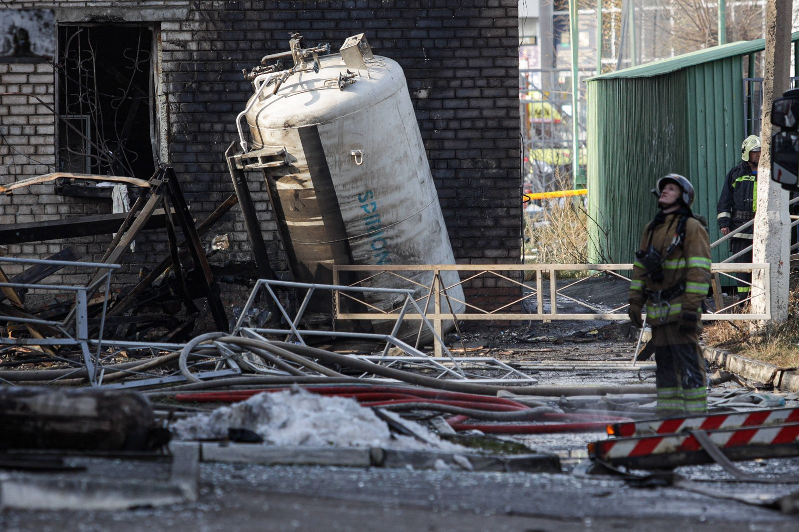 CHELYABINSK, RUSSIA - OCTOBER 31, 2020: Employees of the Russian Emergencies Ministry at the site of a fire at a hospita