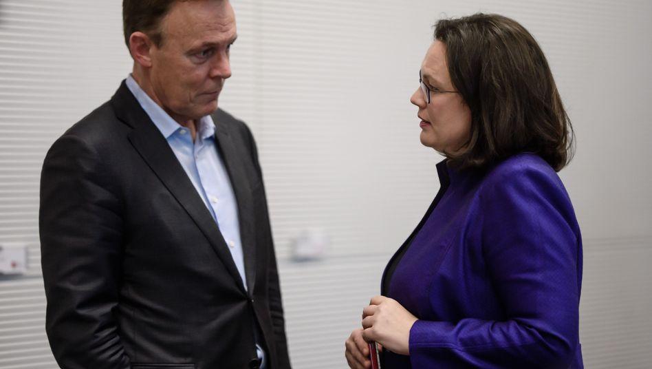 Die Fraktionschefin und ihr Vorgänger: Andrea Nahles mit Thomas Oppermann (Archivaufnahme)
