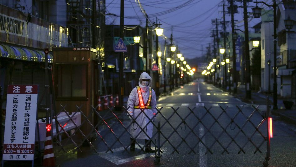 Absperrung im Umfeld des Kraftwerks von Fukushima