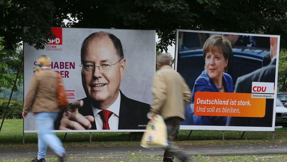 Wahlplakate von SPD und Union: Keiner kann einen Vorsprung aufbauen