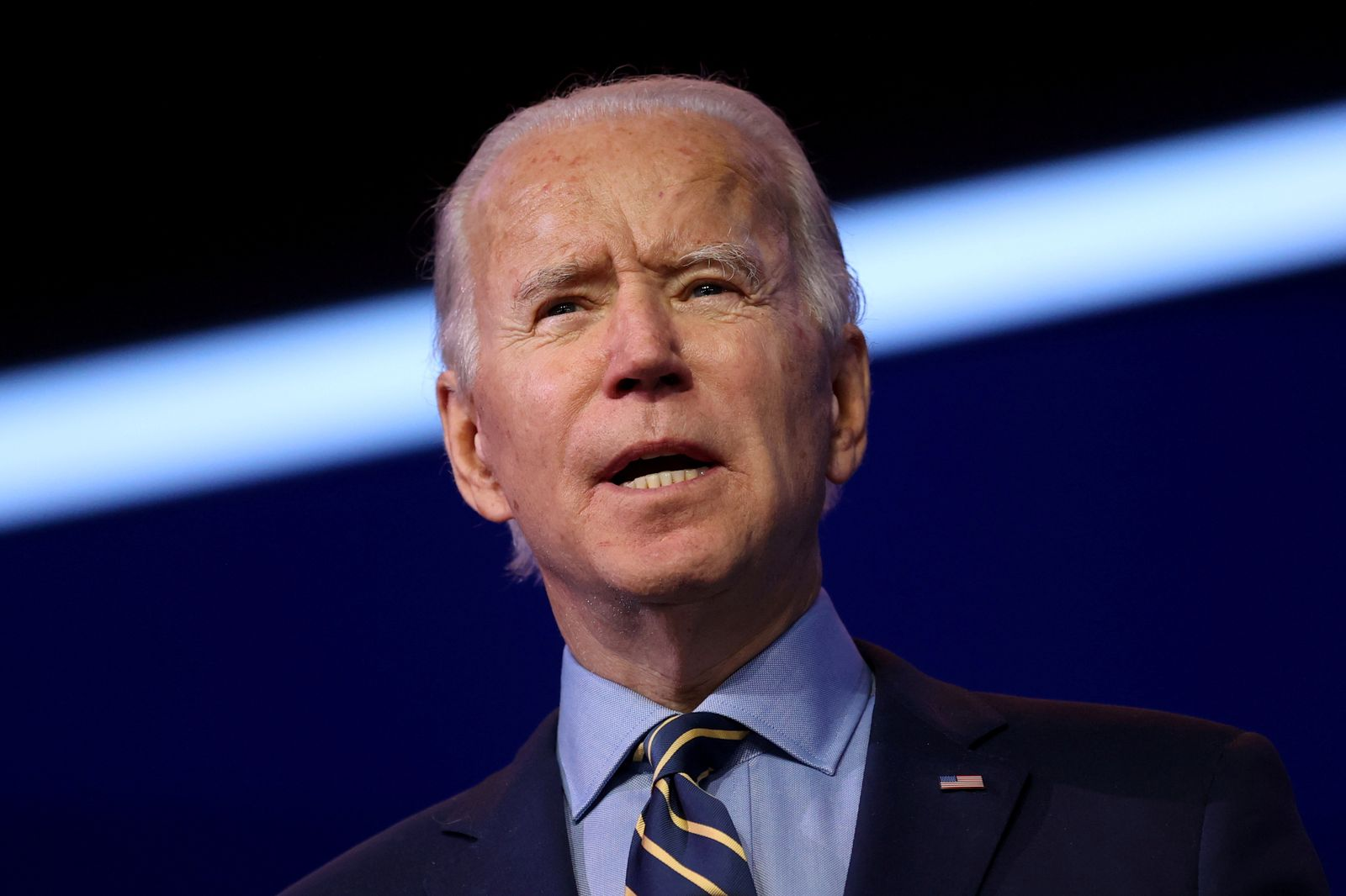 FILE PHOTO: U.S. President-elect Biden delivers remarks at his transition headquarters in Wilmington, Delaware