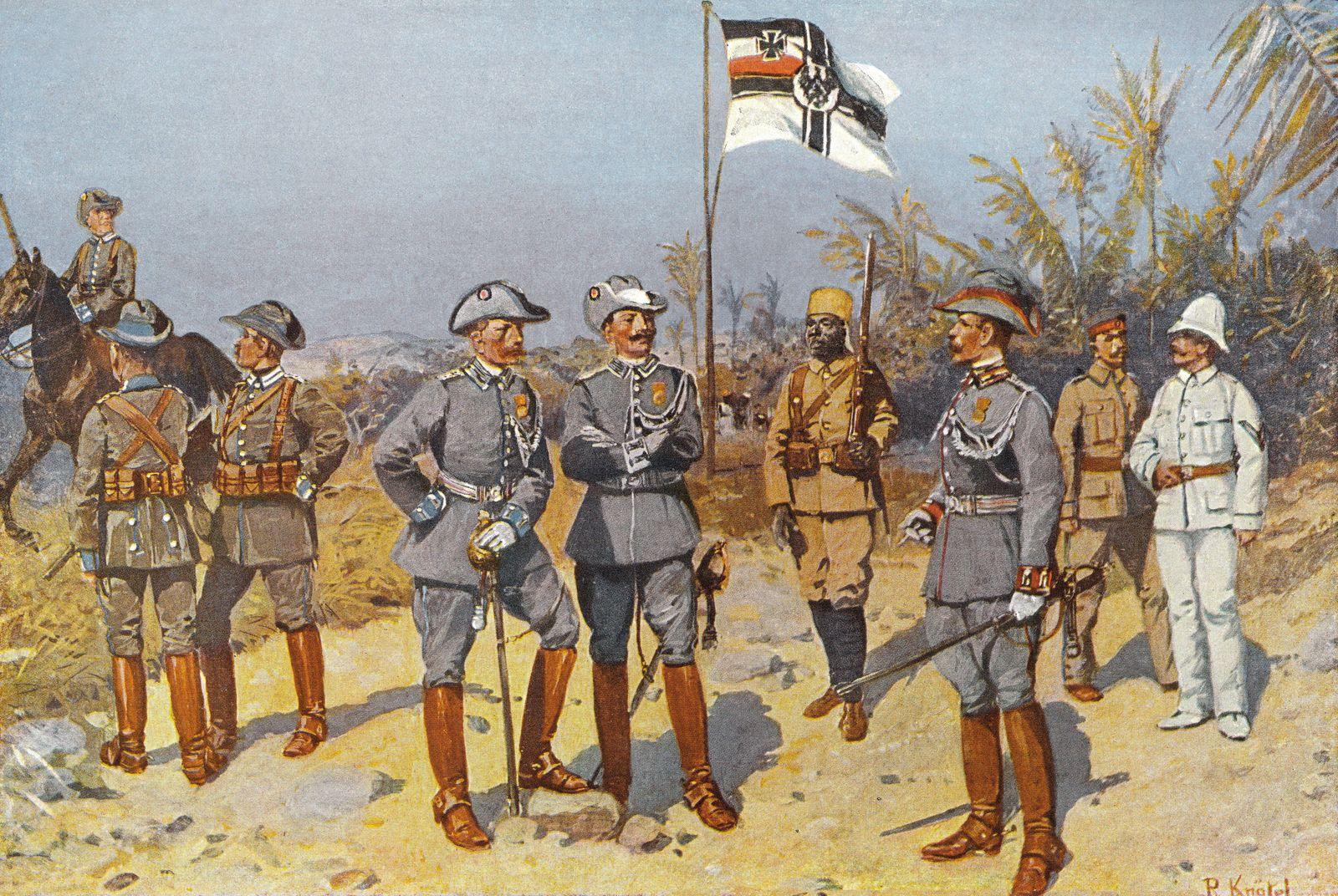 Kaiserlich deutsche Kolonialsoldaten in Deutsch Ostafrika 1894 historische Zeichnung Copyright i
