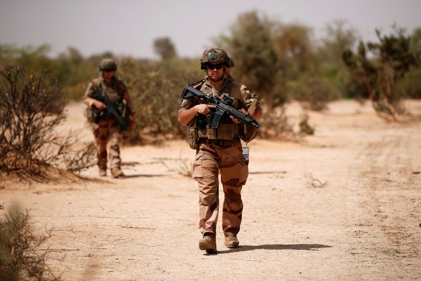 FILE PHOTO: French soldiers of the 2nd Foreign Engineer Regiment conduct an area control operation in the Gourma region during the Operation Barkhane in Ndaki