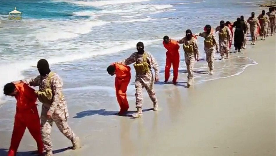Islamic State captives in Libya prior to their murder last spring at the hands of the terrorist militia.