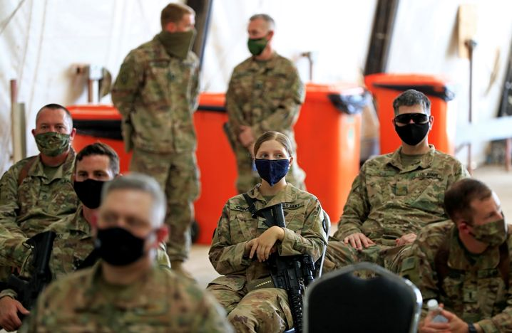 US-Soldaten im Irak bei der Übergabe einer amerikanischen Basis an die irakische Armee am 23. August 2020