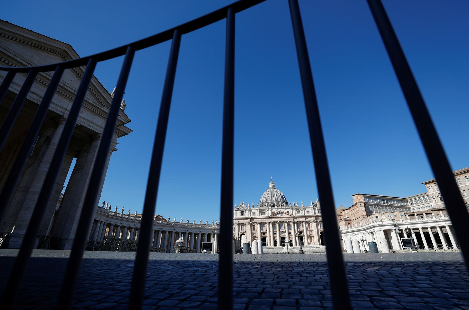 A general view of empty Saint Peter's Square, after a decree orders for the whole of Italy to be on lockdown in an unprecedented clampdown aimed at beating the coronavirus, as seen from Rome