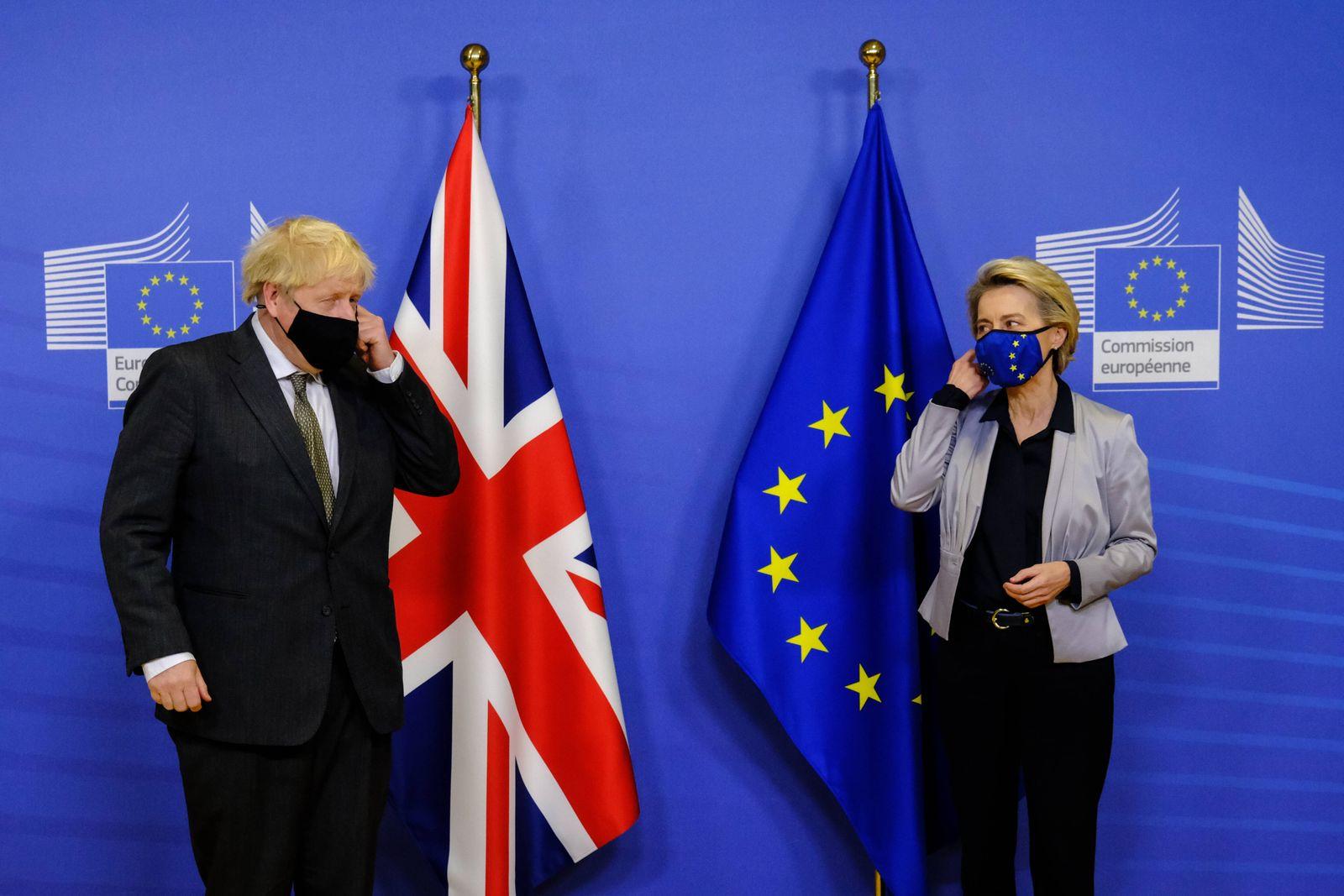 BELGIUM-EU-BRITAIN-DIPLOMACY-TRADE-BREXIT European Commission President Ursula von der Leyen welcomes British Prime Min