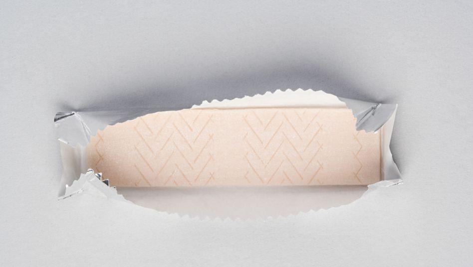 Ein Streifen Kaugummi: Zum Großteil weicher Plastik