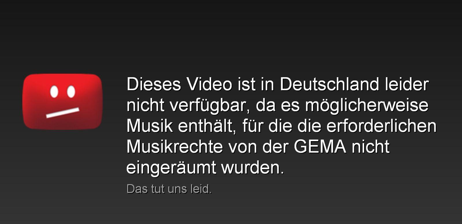 NICHT VERWENDEN Gema/ YouTube