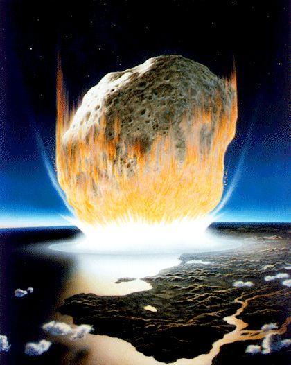 Künstlerische Darstellung des Asteroideneinschlags vor 66 Millionen Jahren: Der Krater hat einen Durchmesser von knapp 200 Kilometern
