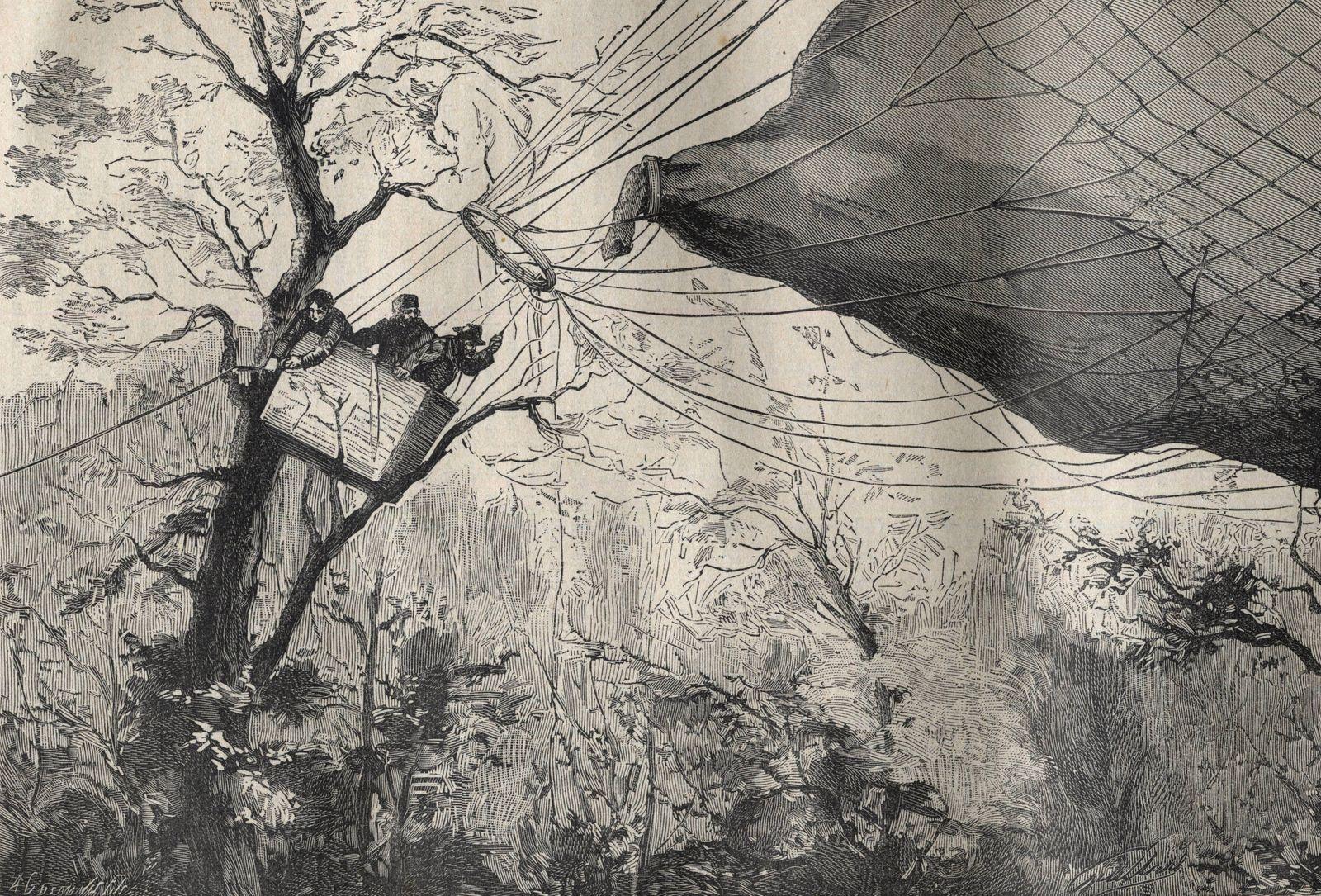 Guerre de 1870 la descente du ballon l Armand Barbes avec Leon Gambetta 1838 1882 a son bord le