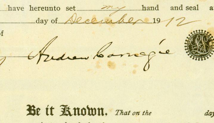 Unterschrift von Andrew Carnegie