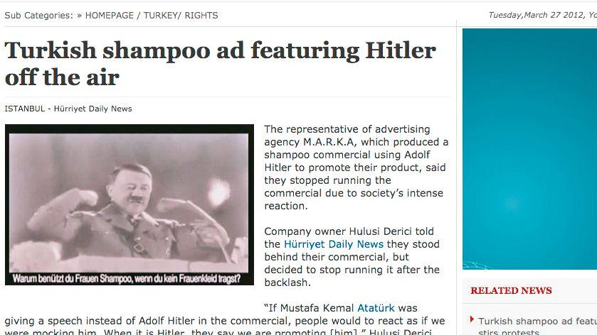 """Screenshot der Zeitung """"Hürriyet"""": """"Sozial unverantwortlich und geschmacklos"""""""